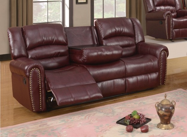 Burdy Leather Reclining Sofa With Console And Nailhead Trim & Nailhead Trim Reclining Sofa | Centerfieldbar.com islam-shia.org