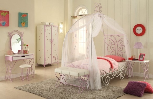Butterfly Princess Carriage 3 pc Twin Canopy Bed Set in White   Purple