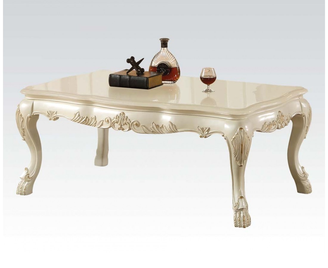 Dresden Traditional Wood Top Ornate Coffee Table In