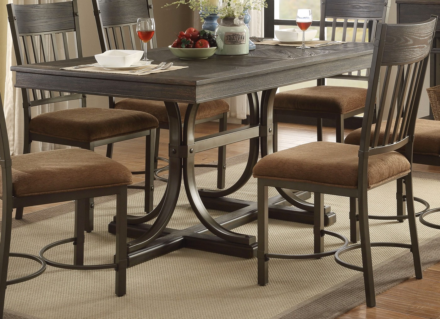 Kieran Rustic 64 Quot Antique Black Iron Trestle Dining Table