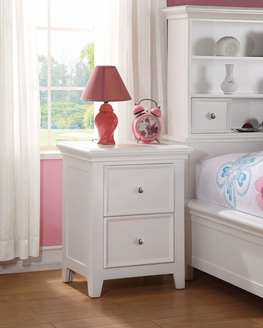 youth 2 drawer nightstand in white finish