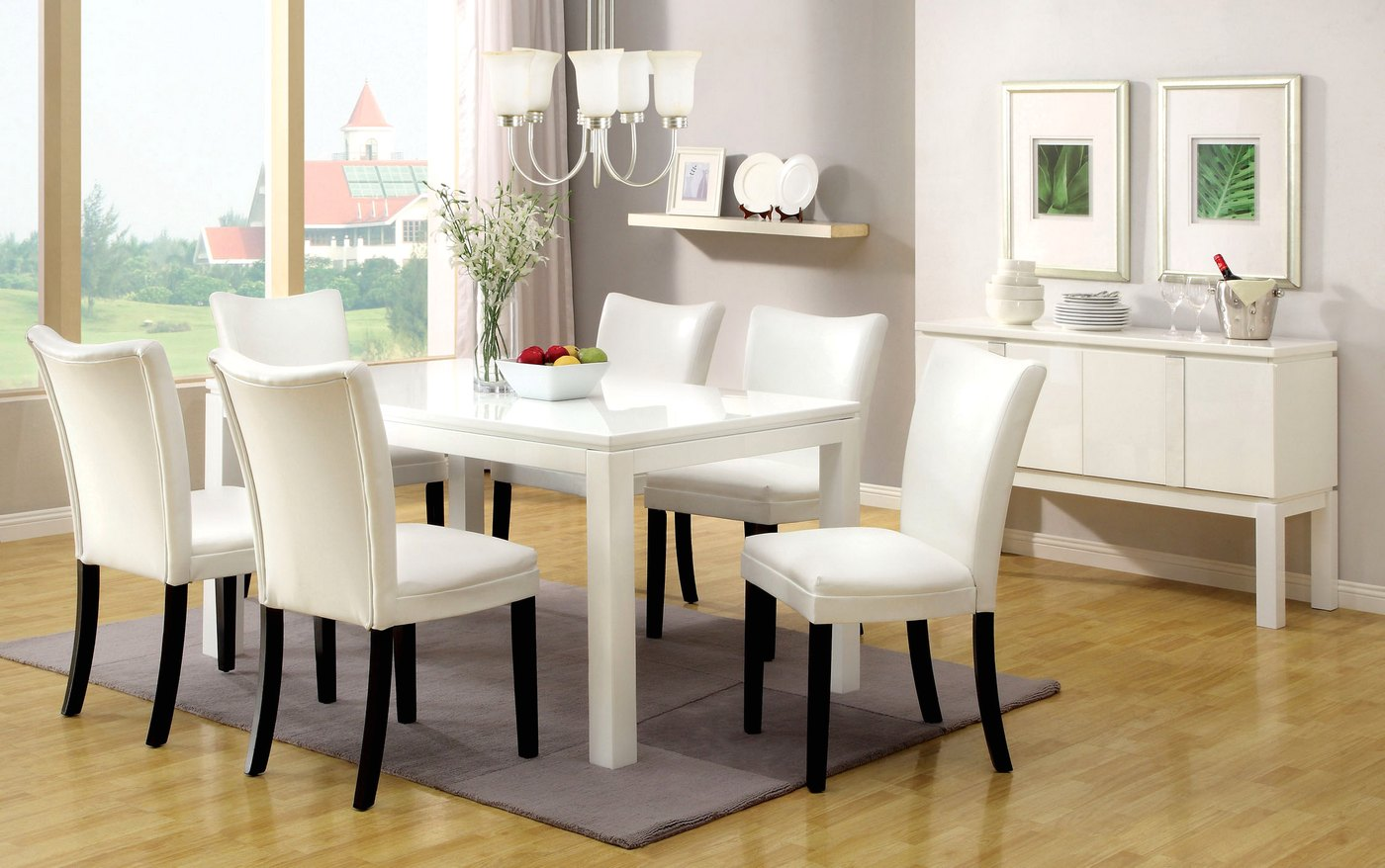Lamia I Contemporary White Casual Dining Set With