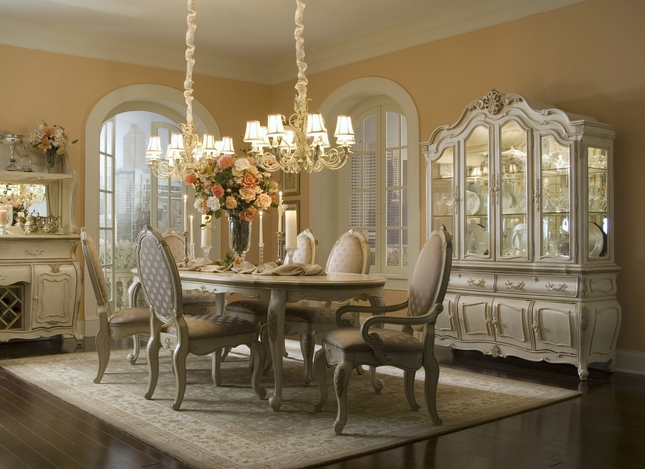 Michael Amini Lavelle Blanc Antique White Finish Dining Room Set By AICO