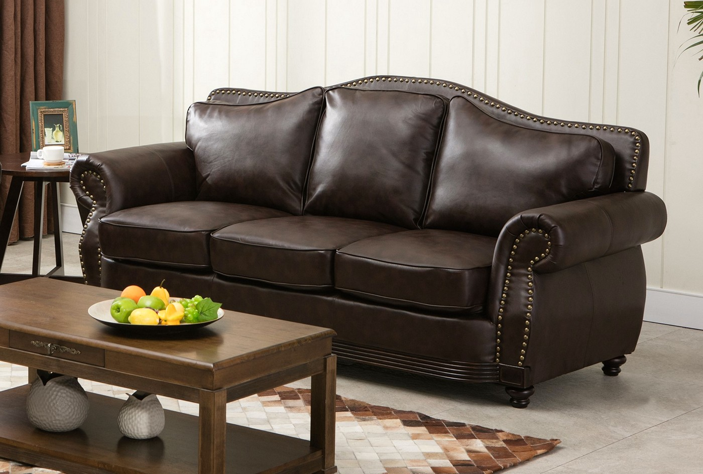 Linden Traditional Brown Bonded Leather Sofa & Loveseat