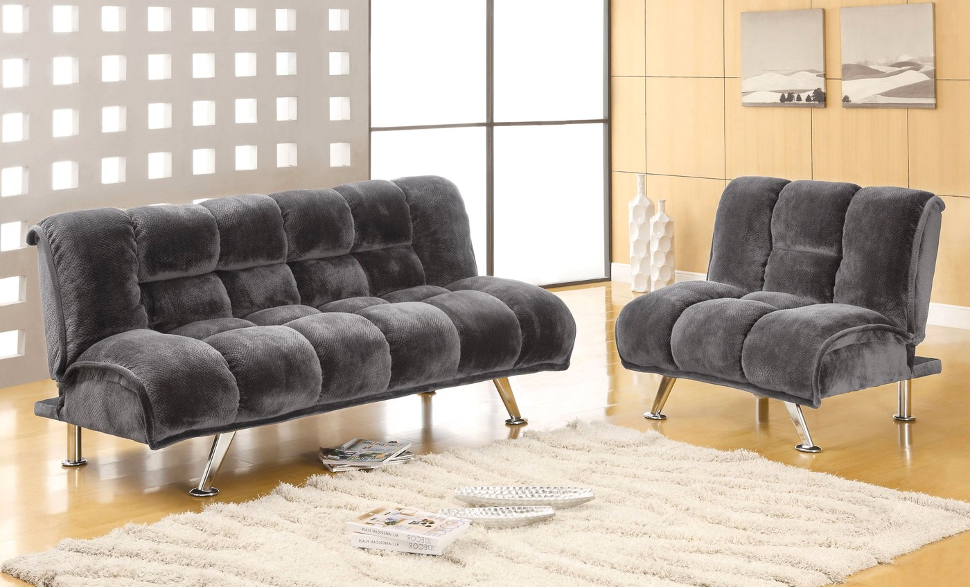 Marbelle Contemporary Gray Sofa Set With Champion Fabric