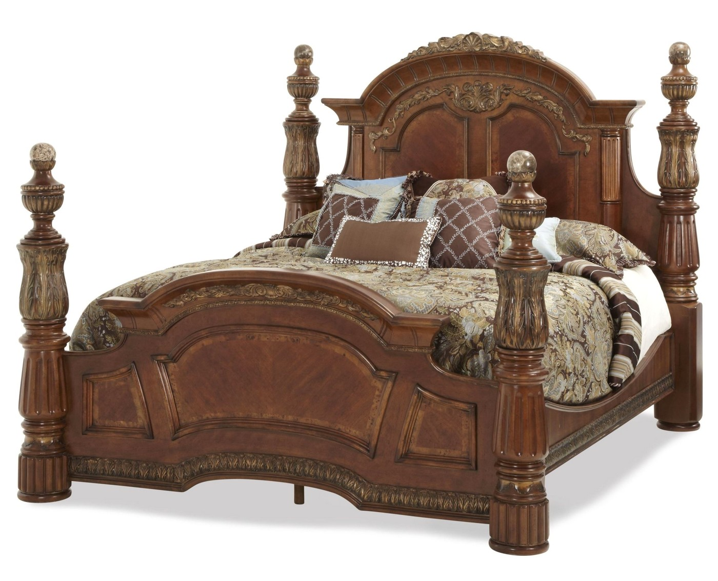 Traditional California King Poster Bed Michael Amini Villa