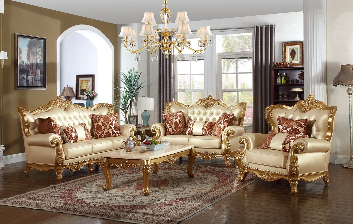 Paloma Traditional Pearl Beige Bonded Leather Sofa
