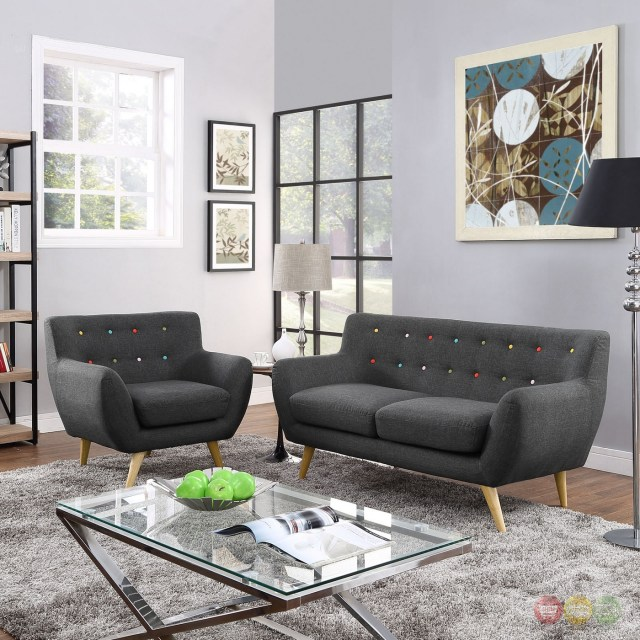 Mid-Century Modern Remark 2pc Button-Tufted Living Room ...