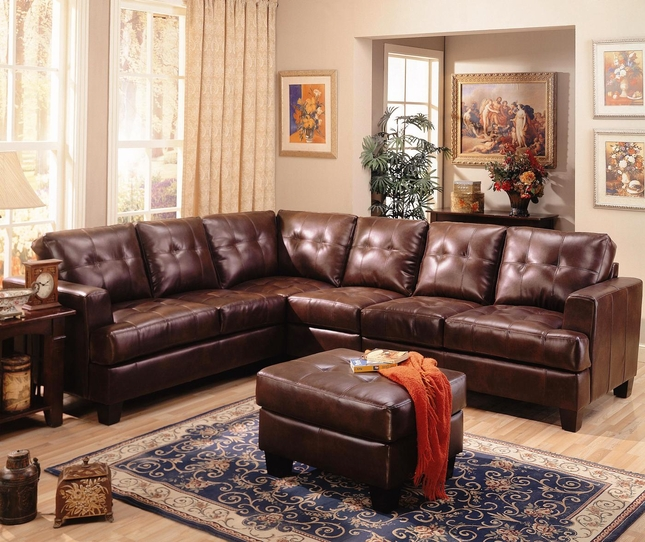 samuel brown bonded leather sectional