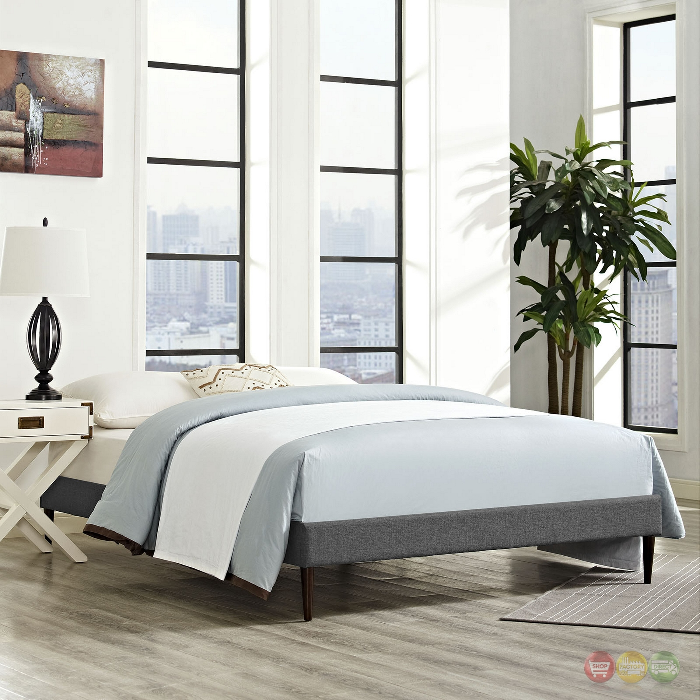 Sherry Upholstered Fabric King Platform Bed Frame Gray