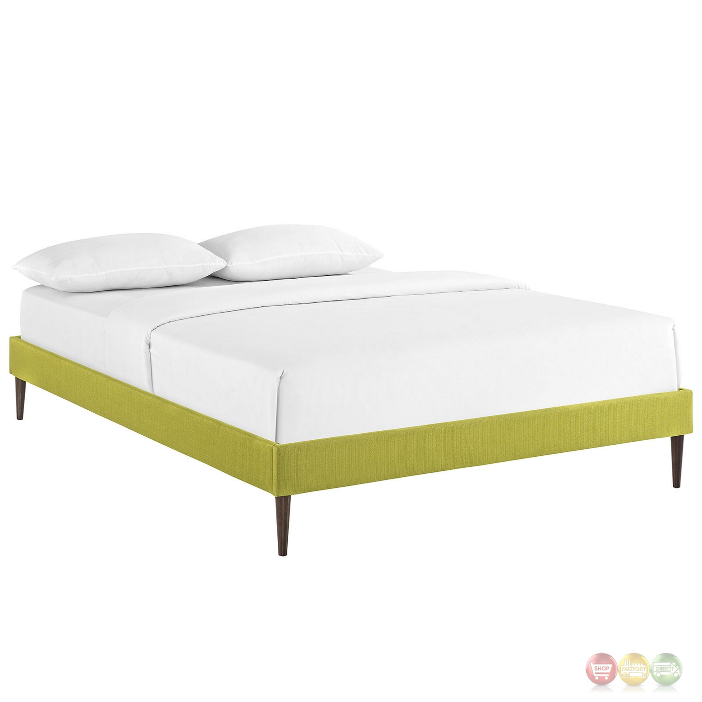 Sherry Upholstered Fabric King Platform Bed Frame Wheatgrass
