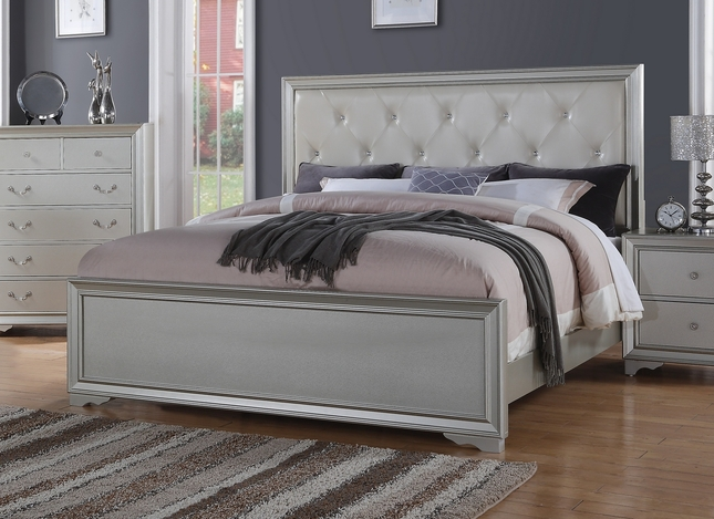silver chic contemporary king bed with