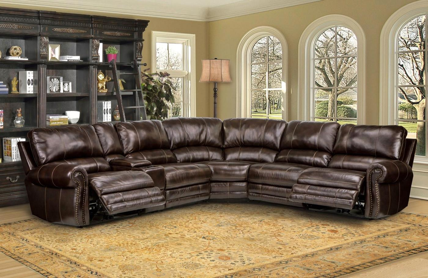 Details About Thurston Havana Modular Genuine Leather Sectional Sofa W Armless Recliner