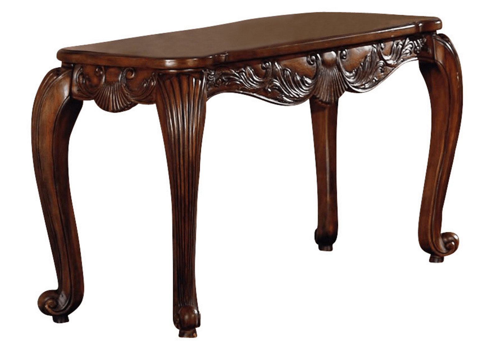 Traditional Carved Wood Console Sofa Table W/ Cabriole