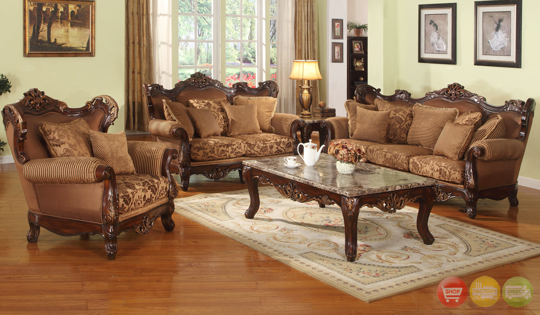 Traditional Medium Cherry Formal Sofa Set With Carved
