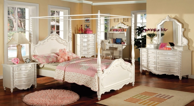 victoria fairy tale pearl white bedroom set with vanity jewelry
