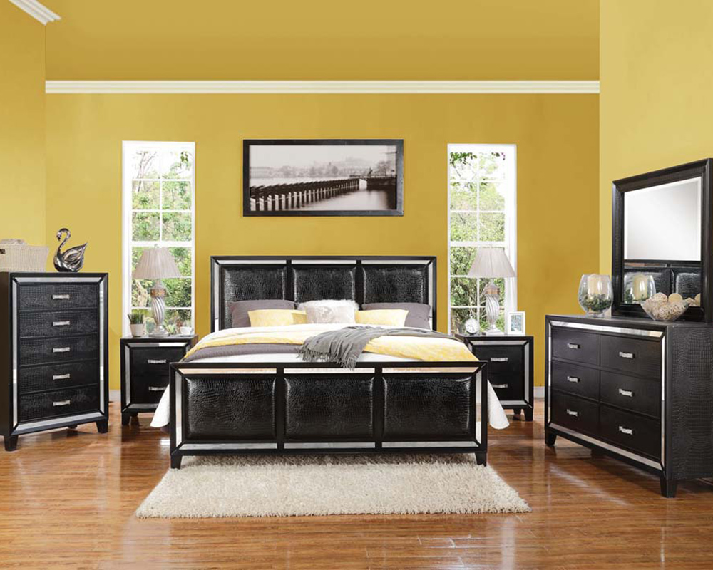 Black Crocodile Bedroom Set Elberte By Acme Furniture