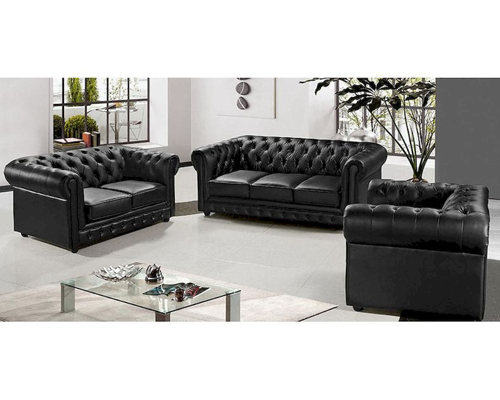 Contemporary Black Leather Sofa Set Paris 1 Contemporary