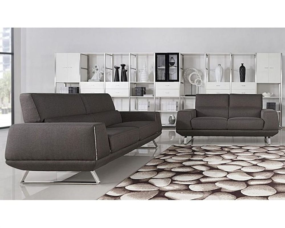 Modern Grey Fabric Sofa Set 44L5947