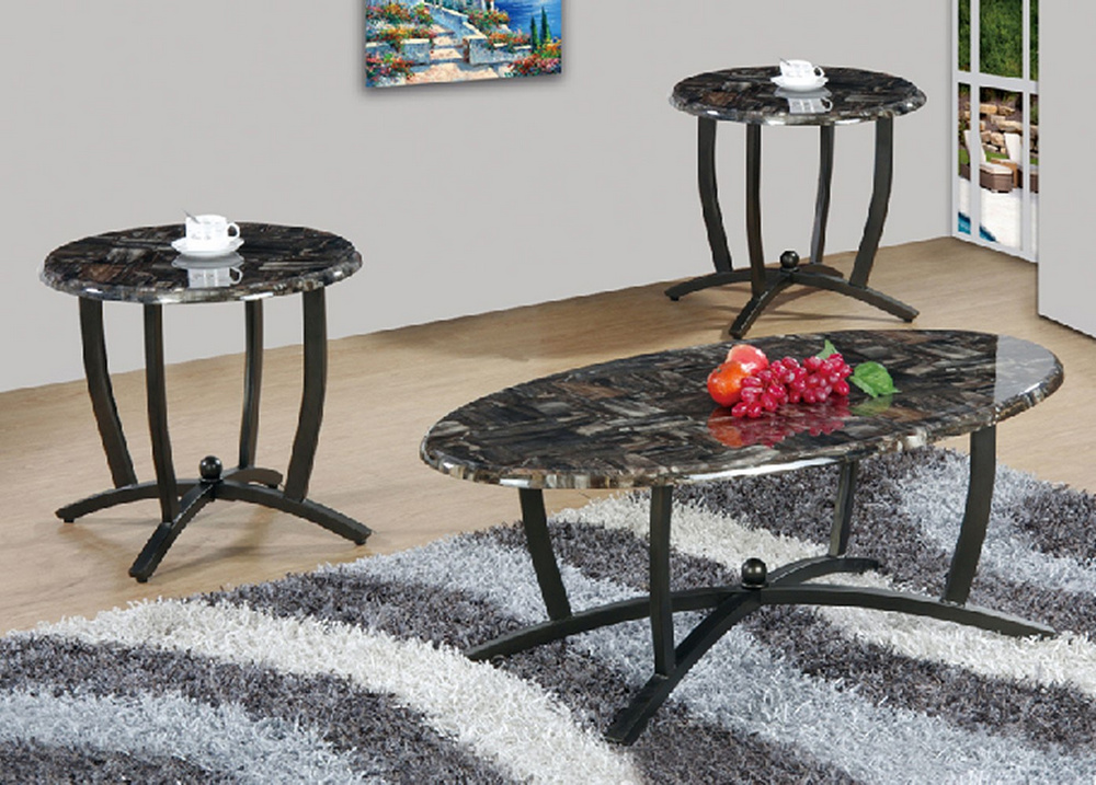 aline 3 pc faux marble black finish metal table set by asia direct