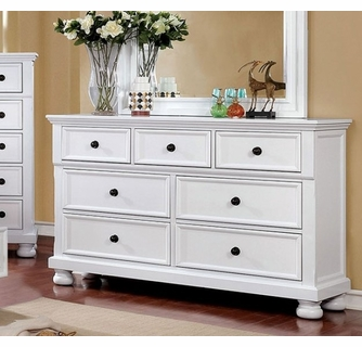 castor white solid wood dresser by furniture of america