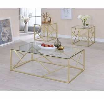 pamplona 3 pc gold glass metal table set by furniture of america