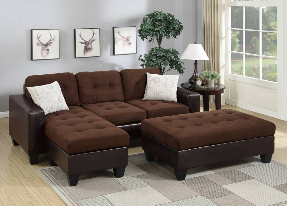 vanna chocolate microfiber sectional sofa with ottoman by poundex
