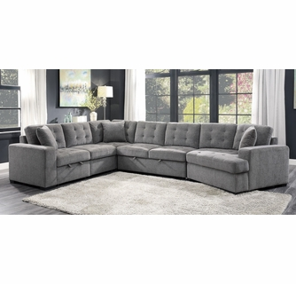 logansport 4 pc gray sectional with pull out bed by homelegance