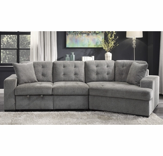 logansport 2 pc gray chenille fabric sectional sofa by homelegance