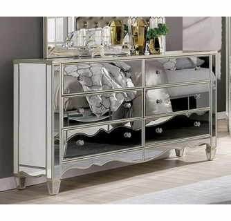 eliora silver mirrored 6 drawer dresser by furniture of america