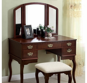 ashland cherry wood vanity with mirror stool by furniture of america