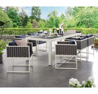 stance 9 pc white metal navy fabric outdoor patio dining set by modway