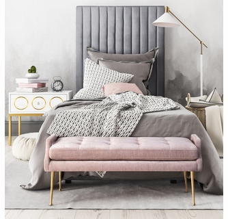 arabelle 3 pc grey velvet twin bed set with pink bench by tov furniture
