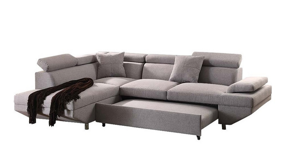 jemima gray fabric laf sectional with sleeper by acme