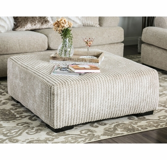 anthea beige woven fabric ottoman by furniture of america