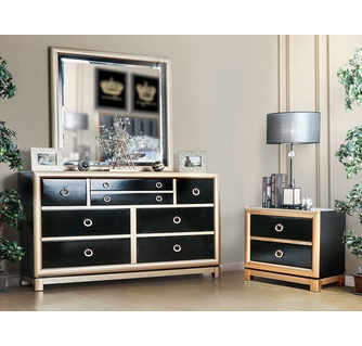 braunfels black gold wood 2 drawer nightstand 8 drawer dresser with mirror by furniture of america