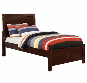 brogan brown cherry wood twin bed by furniture of america