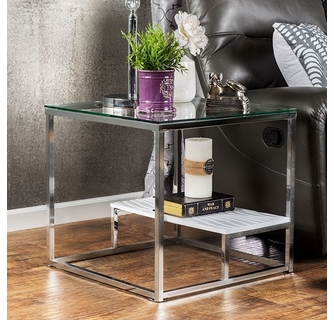 vendi white chrome glass end table by furniture of america