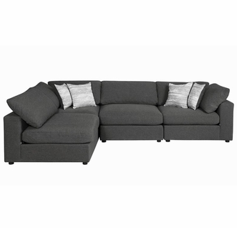 serene 4 pc charcoal linen blend modular sectional sofa by coaster
