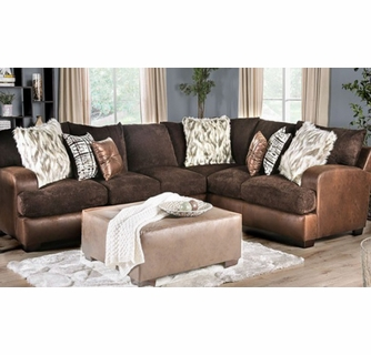 gellhorn 2 pc brown sectional sofa oversized by furniture of america
