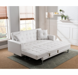 jett white faux leather sectional sofa bed by milton greens stars