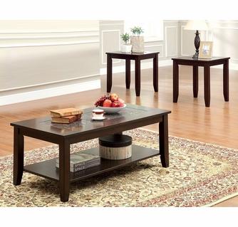 townsend iii 3 pc dark cherry wood table set by furniture of america