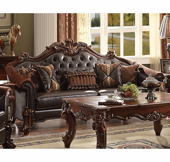 vendome ii dark brown cherry faux leather sofa oversized by acme