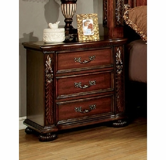 arthur brown cherry wood nightstand by furniture of america