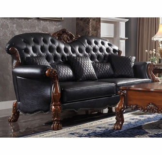 dresden black pu leather tufted 2 seat sofa oversized by acme