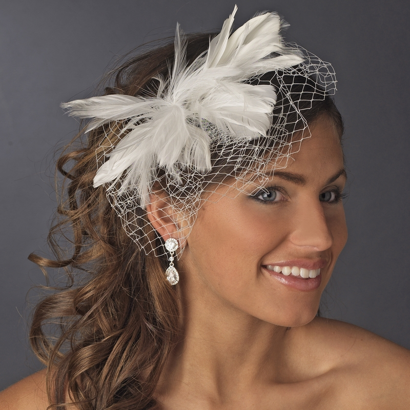 Flower Feather Fascinator With Russian Tulle Veiling