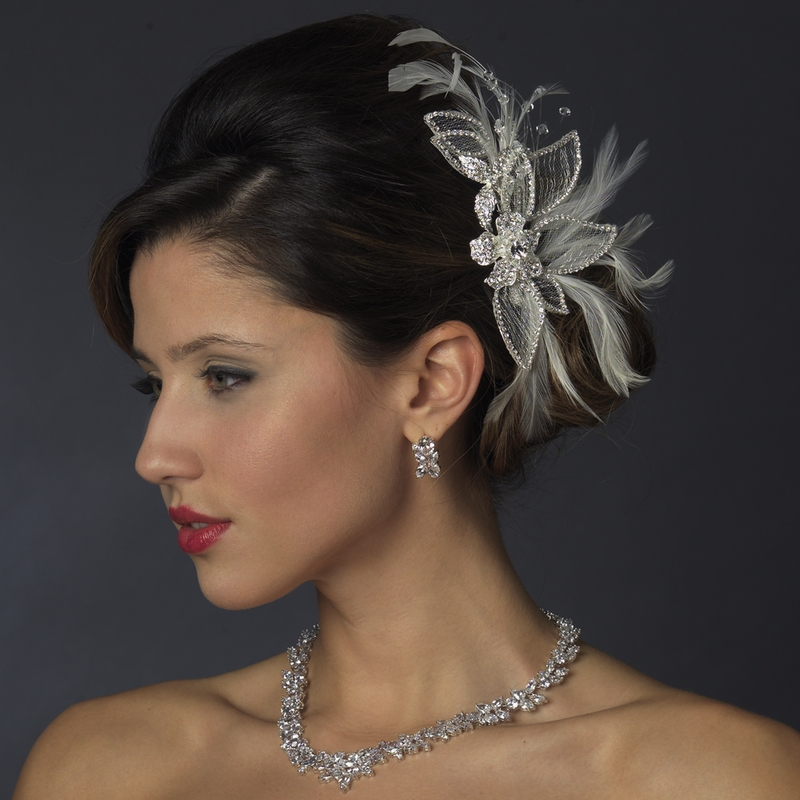 silver and white feather crystal rhinestone bridal hair comb or clip 911