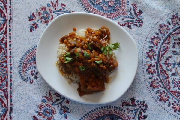 Persian eggplant lentil stew - gheymeh bademjan