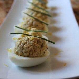 tuna and caper deviled eggs