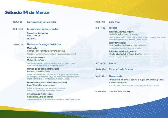 Programa IV Jornada Conjunta de Pediatría de Atención Primaria y Extrahospitalaria de Canarias: sábado 14 de marzo en Sta. Cruz de Tenerife
